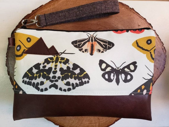 Wrstlet Grab & Go Clutch/Moody moth print front and back/Black zipper/Montana or Mountain patch