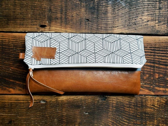 Foldover Clutch/Geo print in white and black/Gray canvas reverse/Caramel vegan leather/White zipper/Mountain or Montana patch/Mix and match