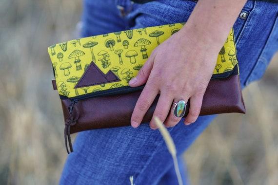 Foldover clutch/Yellow mushroom print/Black canvas reverse/Black zipper/Montana or Mountain patch