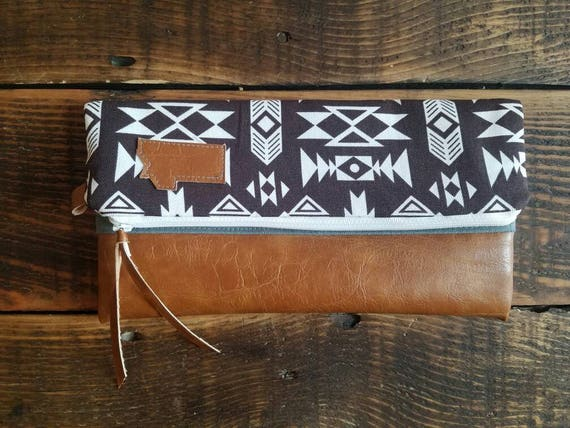 Montana foldover clutch/Brown and ivory SW print/Caramel brown vegan leather details/White zipper/Made to order/Gray canvas reverse