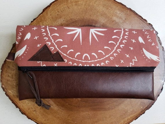 Foldover clutch/Rust bohemian print/Black canvas reverse/Black zipper/Montana or Mountain patch