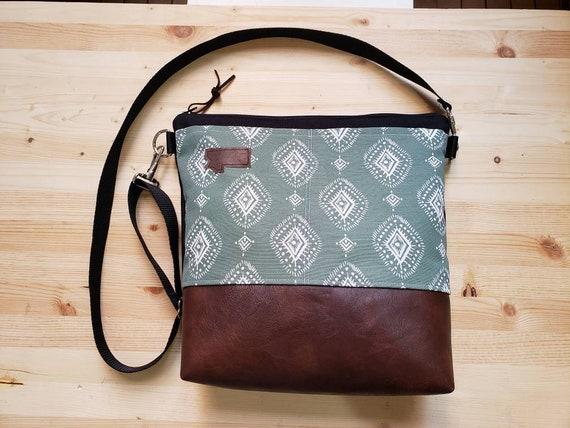 Large crossbody/Sage henna print=2 front pockets/Black canvas back/Black zipper/Black adjustable nylon strap/MT or Mountain