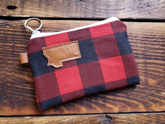 Coin pouch/credit card pouch/Black & red buffalo check on print front and back/Canvas liner/White zipper/MT or MTN patch/Vegan leather