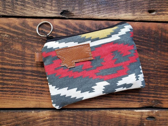 Coin/credit card pouch/Multicolor SW print on front and back/Natural canvas liner/Black zipper/Montana or Mountain patch