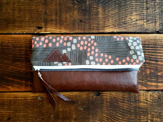 Foldover clutch/Flathead lake print in grays & peach/Vegan leather details/White zipper/Montana or mountain patch