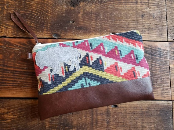 Grab & Go Clutch/Persian print front and back/White zipper/Vegan leather details/Wool bison patch 4 color options/Made in MT