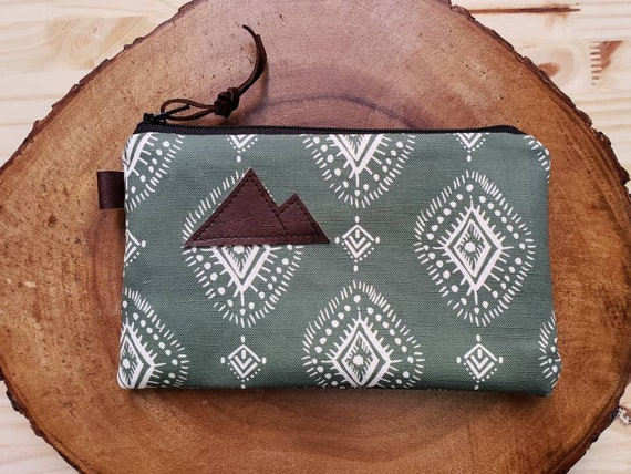 Sage Henna pouch/3 size options/printed front and back/Natural canvas liner/Black zipper/Mountain or Montana patch/Vegan leather details