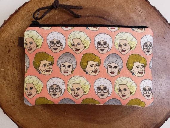 Golden Girls pouch/3 size options/printed front and back/Natural canvas liner/Black zipper/Mountain or Montana patch/Vegan leather details