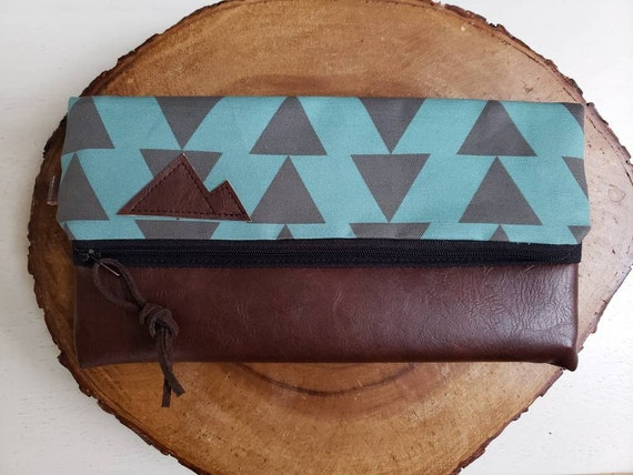 Foldover clutch/Teal & charcoal triangles print/Black canvas reverse/Black zipper/Montana or Mountain patch