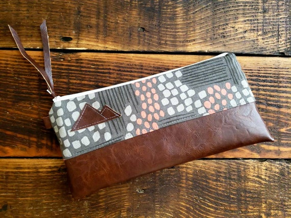 Wally clutch/Flathead lake print in grays & peach front and back/white zipper/Vegan leather details/Choose Montana or Mountain patch