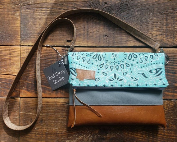 Crossbody/Lightweight Teal bandana print/Montana or Mountain/Foldover Crossbody/Vegan leather/Graphite gray zipper/Gray canvas/Handcrafted