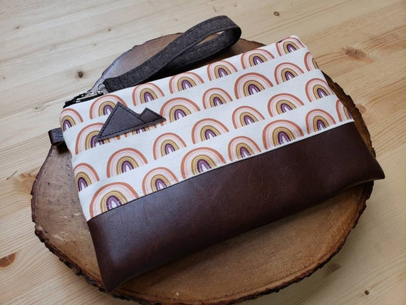 Wrstlet Grab & Go Clutch/Boho rainbow print front and back/Black zipper/Montana or Mountain patch