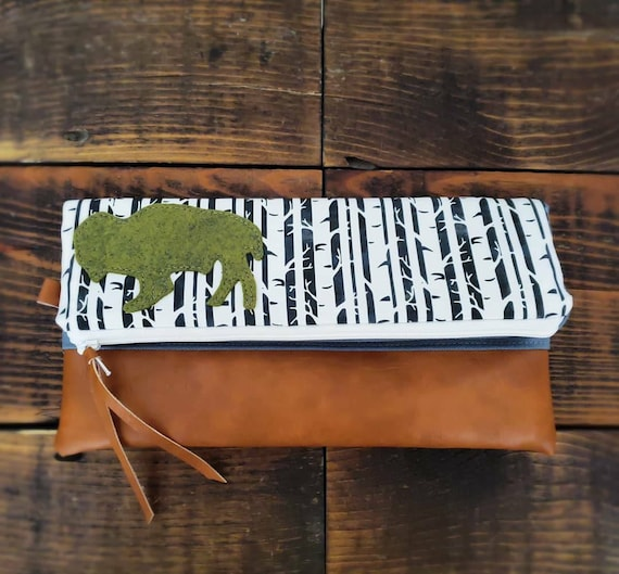 Bison foldover Clutch/Birch print/Gray canvas reverse/Caramel vegan leather/Gray wool felt bison/Green zipper/Made in MT