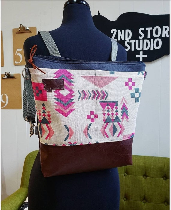 Convertible backpack crossbody/ print=2 front pockets/Western in pinks print/vegan leather/Graphite gray bull denim shell/Black zipper
