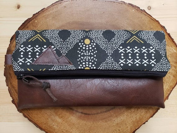 Foldover clutch/Mud cloth print/Black canvas reverse/Black zipper/Montana or Mountain patch