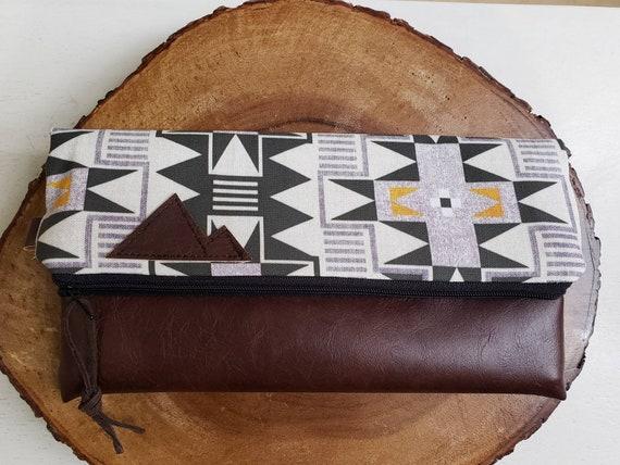 Foldover clutch/Westward print/Black canvas reverse/Black zipper/Montana or Mountain patch