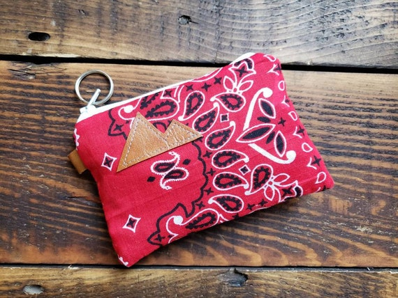 X-1 Coin/credit card pouch/Red bandanna print /Dark brown waxed canvas back/Gray canvas liner/White zipper/Choose Montana or Mountain patch