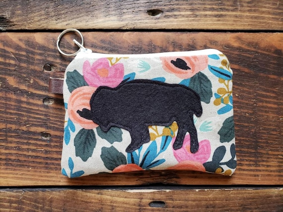 Bison coin pouch/credit card pouch/Light linen floral print front and back/Natural canvas liner/White zipper/Choose bison color
