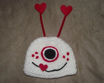 SALE today ONLY Valentines day monster hat photography prop newborn, 0-3, 3-6 months