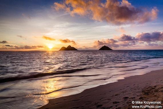 Sunrise At Lanikai Beach In Kailua On The East Side Of Oahu Hawaii Photo Picture Fine Art Metal Print
