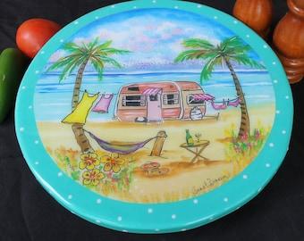 Camper Decor, Gift for Her, Happy Camper Gift, Camper Turntable, Lazy Susan for RV, Vintage Trailer Gift, Nomad Gift by Artist Janet DIneen
