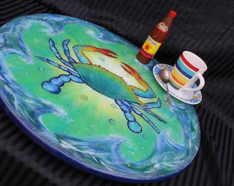Blue Crab Lazy Susan, 18 Inches, Resin coated, Custom Painted Turntable One of a Kind Kitchen Art Coastal Home Decor by Janet Dineen