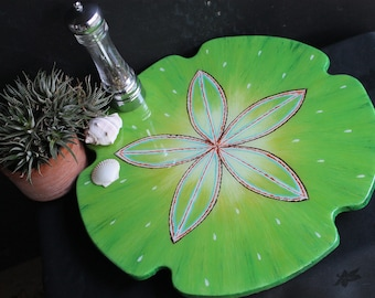 18 Inch Lazy Susan, Hand Painted, Wooden Turntable, Sand Dollar,  Beach Style, Coastal Home Decor, hand made, wedding or house warming gift