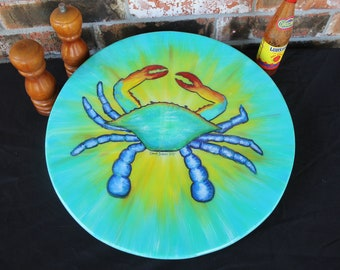 Coastal Decor, Lazy Susan Turntable, 16, 18 or 20 inches, Blue Crab Painting, Beach House Decor, Unique Beach Condo Art, by Janet DIneen