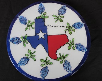 Texas House warming gift, Lazy Susan, Texas Turntable, Bluebonnet Painting, Texas Art byTexas Country Reporter featured artist Janet Dineen