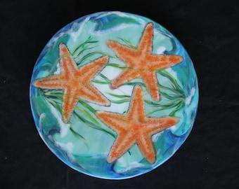 Starfish Lazy Susan, Starfish Art, Starfish Painting on a 16 or 18 Inch turntable. Coastal Home Decor, Beach House Centerpiece, Janet Dineen