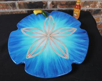 Dark Blue Lazy Susan, Coastal Decor, Blue Kitchen Decor,  Sand Dollar, Ocean Art,  14, 16 ,18 or 20 Inch, Coastal Turntable, Housewarming