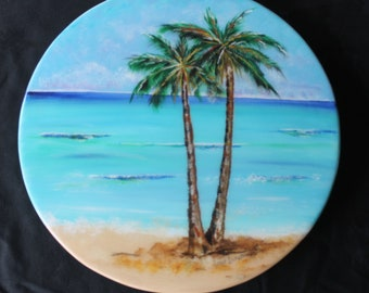 Lazy Susan, Coastal Decor, Mothers Day Gift, Lazy Susan Turntable, Palm Tree Painting, Wood Lazy Susan, Beach Decor, Kitchen Decor, Gift