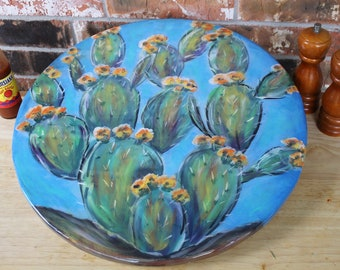 Cactus Painting on an 18 Inch Lazy Susan, Southwestern Decor, Cactus Art Turntable, Prickly Pear Cactus, Original Artwork by Janet Dineen
