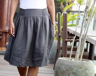 Dark Charcoal Skirt with Pockets, Gray Modest Bridesmaid Skirt, Contemporary Classic Work Skirt, Travel Skirt, Custom Midi Skirt for Women
