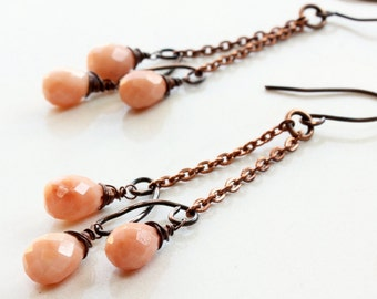 Orange-Peach Jade Earrings, Copper wire wrap earrings,  artisan earrings, chain chandelier earrings, modern dangle earrings, gift, 3357