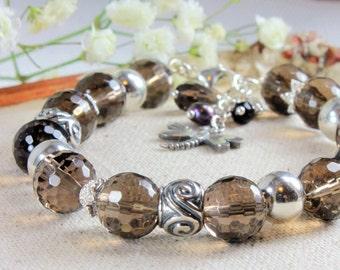 Smokey Quartz Bracelet, 925 Sterling Silver, Natural Smokey Quartz Jewelry, modern bohemian bracelet, stackable gemstone bracelet, 4120