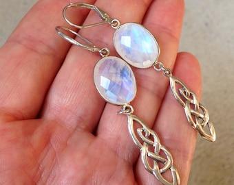 Moonstone Earrings, Sterling Silver, celtic knot charms, milky iridescent gemstone, Statement earrings, long earrings, June birthstone, 3247