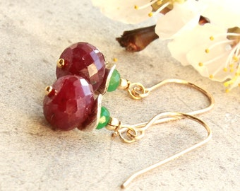 Ruby Emerald Earrings, Goldfilled, Sterling Silver, red green gemstone, elegant dainty petite dangle, May July birthstone gift for her, 4737