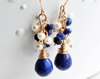 Lapis Pearls Gold Filled Earrings wire wrapped royal blue white gemstones cluster boho dangles birthstone mother's day birthday gift 4160