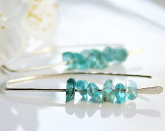 Blue Apatite Earrings, Sterling Silver, blue gemstone threader earrings natural stone hand-forged artisan earrings holiday gift for her,4417