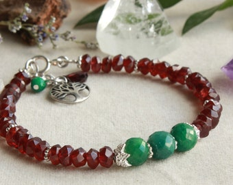 Garnet Emerald Beaded Bracelet, 925 Sterling Silver, red geen gemstone, tree of life charm, January May birthstone, gift idea for her, 4660