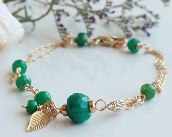 Emerald Bracelet, Goldfilled wire wrapped natural green gemstones, modern boho luxe, leaf charm, holiday gift for her, May birthstone, 4729