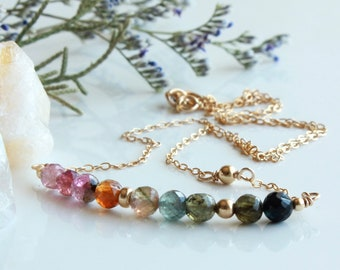 Tourmaline Bar Necklace, Goldfilled wire wrapped multi color gemstones , layered modern boho, holiday gift for her, October birthstone, 4728