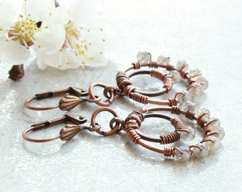 Labradorite Earrings, oxidized copper hoops, green grey natural gemstone, modern dangle earrings, boho luxe, holiday gift for her, 4744