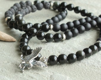 Black Onyx shadow Obsidian Lava Beaded Necklace for Men, Sterling Silver Eagle Pendant, Men's Jewelry gift for Guys Dad Him, 4611