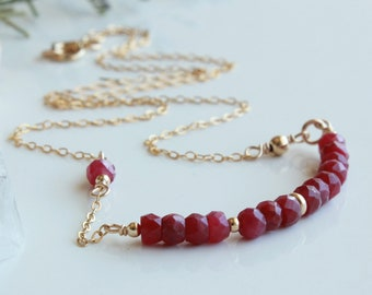 Ruby Necklace, red gemstone bar, Goldfilled wire wrap, minimalist everyday layered modern simple, holiday gift for her, July birthstone,4726