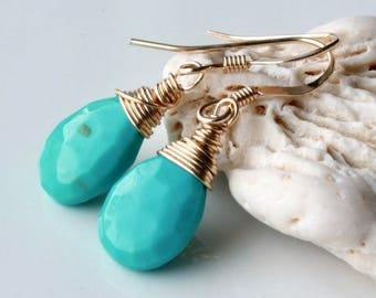 Genuine Arizona Turquoise Earrings, Gold filled wire wrap, Sleeping Beauty Turquoise, blue gemstone, minimalist, December birthstone, 4506