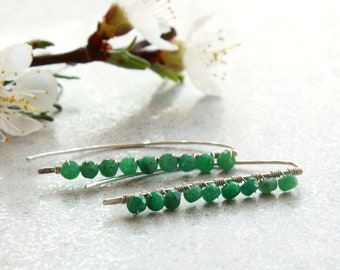 Emerald Threader Earrings, hand-forged Sterling Silver, natural gemstone, modern minimalist, May birthstone, holiday gift for her, 4738