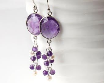 Amethyst Earrings, Sterling Silver, purple gemstone, white pearls rose quartz cluster tail statement earrings, February birthstone gift,4446