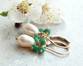 White Pearls Emerald Earrings, Goldfilled, white green gemstone, elegant dainty petite dangle bridal, May June birthstone gift for her, 4741